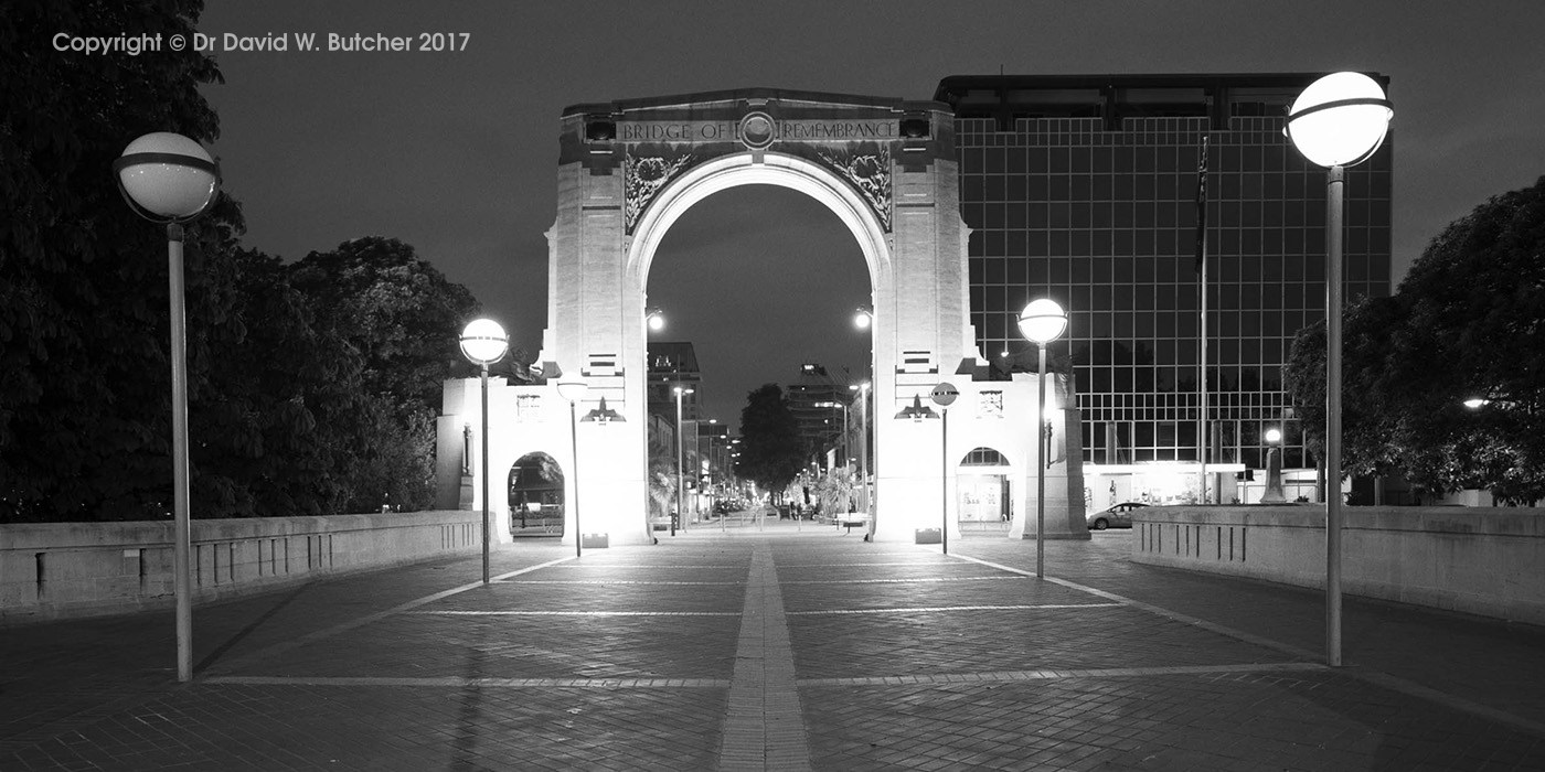 Windsor Urban bridge of remembrance Christchurch lighting